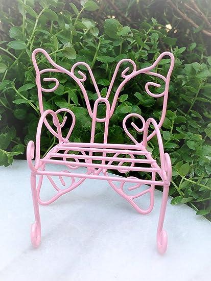 Pleasing Amazon Com Dollhouse Furniture Metal Pink Butterfly Bench Machost Co Dining Chair Design Ideas Machostcouk