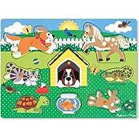 Melissa & Doug Rompecabezas con clavijas, de mascotas (coloridas ilustraciones de animales, construcción de madera extra-gruesa, 8 piezas )