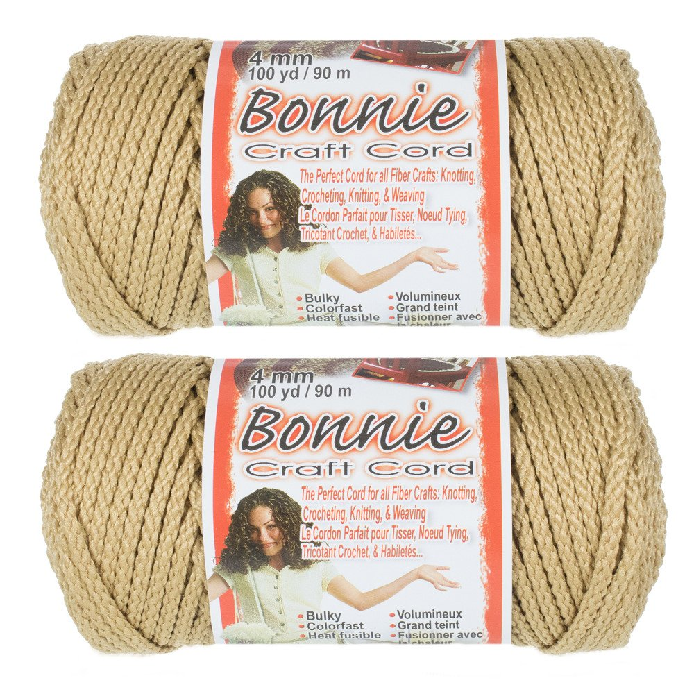 2 Pack Bonnie Macramé Cord - 4mm - 100 yd Lengths - Various Colors Craft County