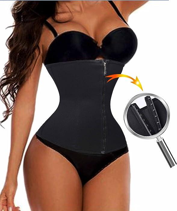 03676b95c Waist Trainer Cincher Long Torso Shaper Zipper Plus Size Corset For Weight  Loss (S