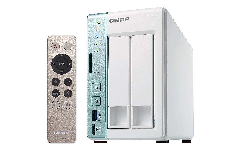 QNAP TS-251A - Dispositivo de Almacenamiento en Red NAS (Intel Celeron, 2 bahí as, 2 GB RAM, USB 3.0, SATA II/III, Gigabit), Blanco 2 bahías FBA_TS-251A-4G