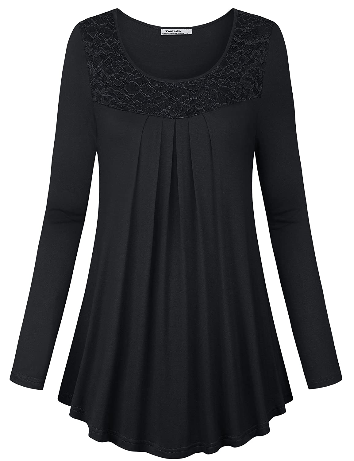 58ba603d89fb5c Features: Soft, elastic, breathable and comfortable knit fabric, Not see  through,Round Neck, Flared Hem A Line Pleated, Long Sleeve Blouse Top makes  you ...