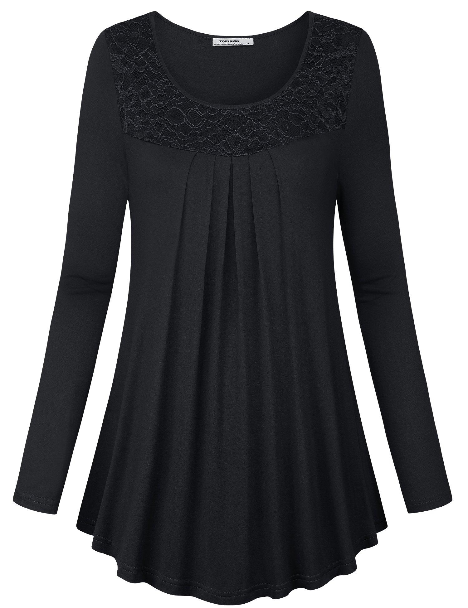 Youtalia Flowy Tops for Women, Ladies Stylish Long Sleeve Scoop Neck Curve Hem A Line Elastic Plus Size Elegant Lace Blouse Top,Black XX-Large