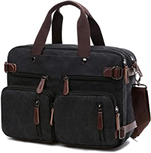 Convertible Laptop Backpack 17.3 Inch Messenger Bag for Men/Women (17.3 Inch, Black)