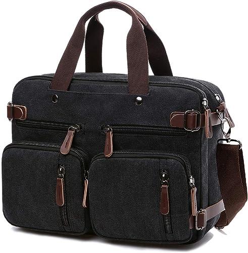 Convertible Laptop Backpack 17.3 Inch Messenger Bag for Men Women 17.3 Inch, Black