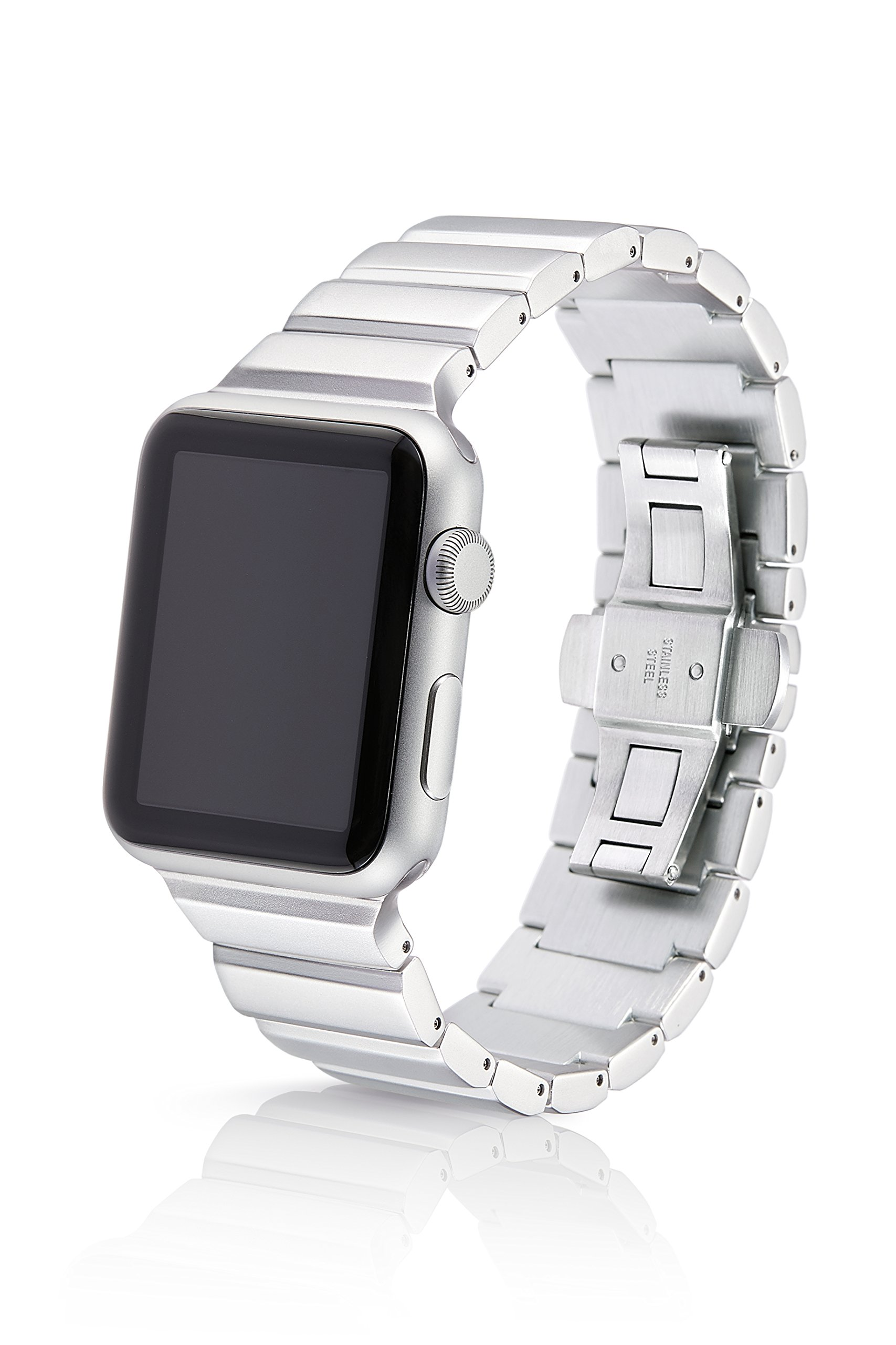 38/40mm JUUK Silver Ligero Premium Watch Band Made for The Apple Watch, Using Aircraft Grade, Hard Anodized 6000 Series Aluminum with a Solid Stainless Steel Butterfly deployant Buckle (Matte)