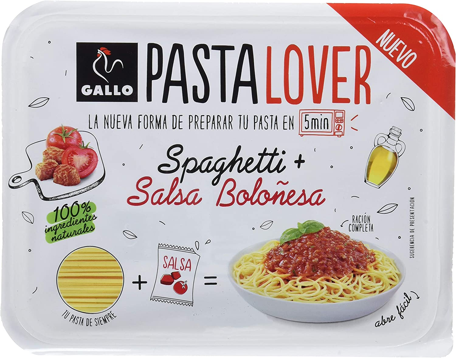 Gallo Pastalover Spaghetti Boloñesa - 200g: Amazon.es ...
