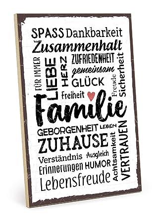 TypeStoff Holzschild mit Spruch – Familie – im Vintage-Look mit Zitat als  Geschenk und Dekoration zum Thema Freude, Sicherheit und Achtsamkeit (19,5  x ...
