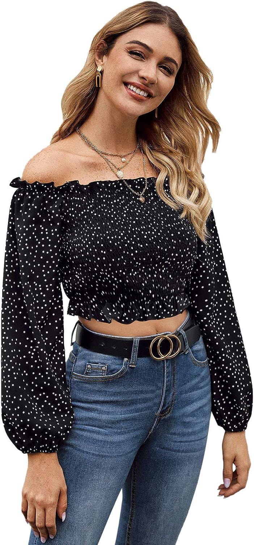 SheIn Womens Off Shoulder Long Sleeve Polka Dots Frill Shirred Crop Blouse Top Black Small