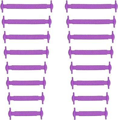 Xunits Cordones de silicona elásticos, planos, sin lazos, en 13 (neón) para niños y adultos