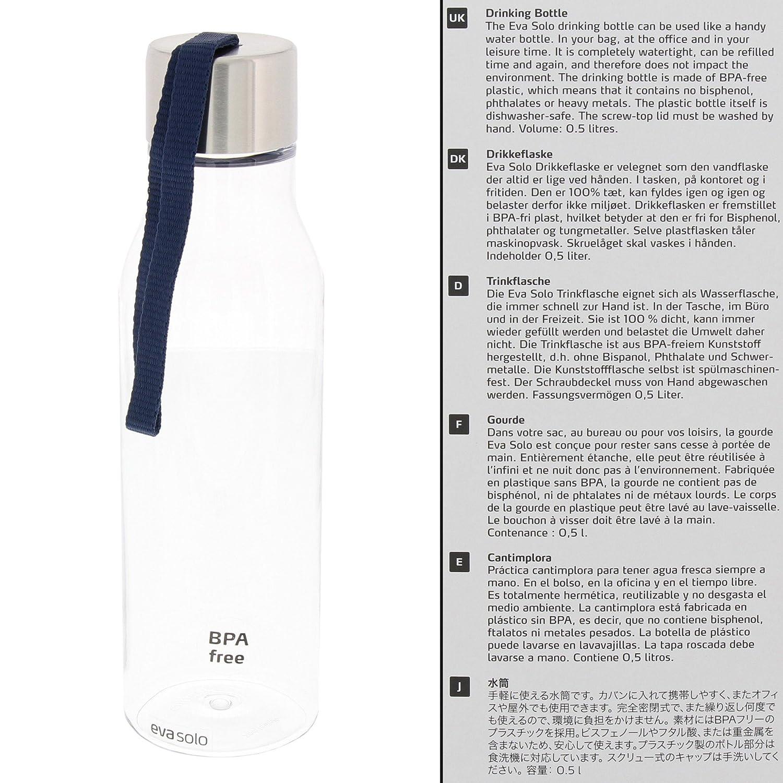 Eva Solo 5706631068734/503022/Botella con Correa pl/ástico 0,5/L Negro 28/x 10/x 10/cm