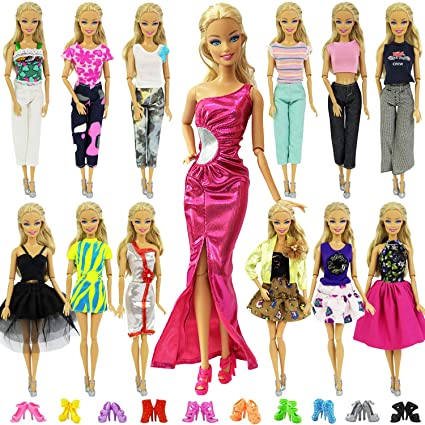 3619459b80749 ... 20 Items = 10 Sets Fashion Clothes Dress Bundle 10 Shoes for 11.5 inch  Doll Outfits - Random Style Outfits Accessories for 11.5 inch Doll: Toys &  Games