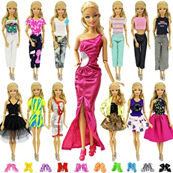 7cbb7c3f4b4 ZITA ELEMENT 20 Pcs Vetements pour Barbie Accesoires - 10 Set Vêtements  Robe Barbie 10 Chaussures