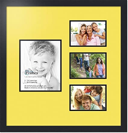 ArtToFrames Collage Photo Frame Double Mat with 2-8x10 Openings and Satin Black Frame