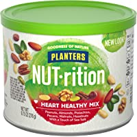 PLANTERS NUT-rition Heart Healthy Snack Nuts Mix, 9.75 oz Canister (Pack of 3) - On-the-Go Snack, Work Snack, School…