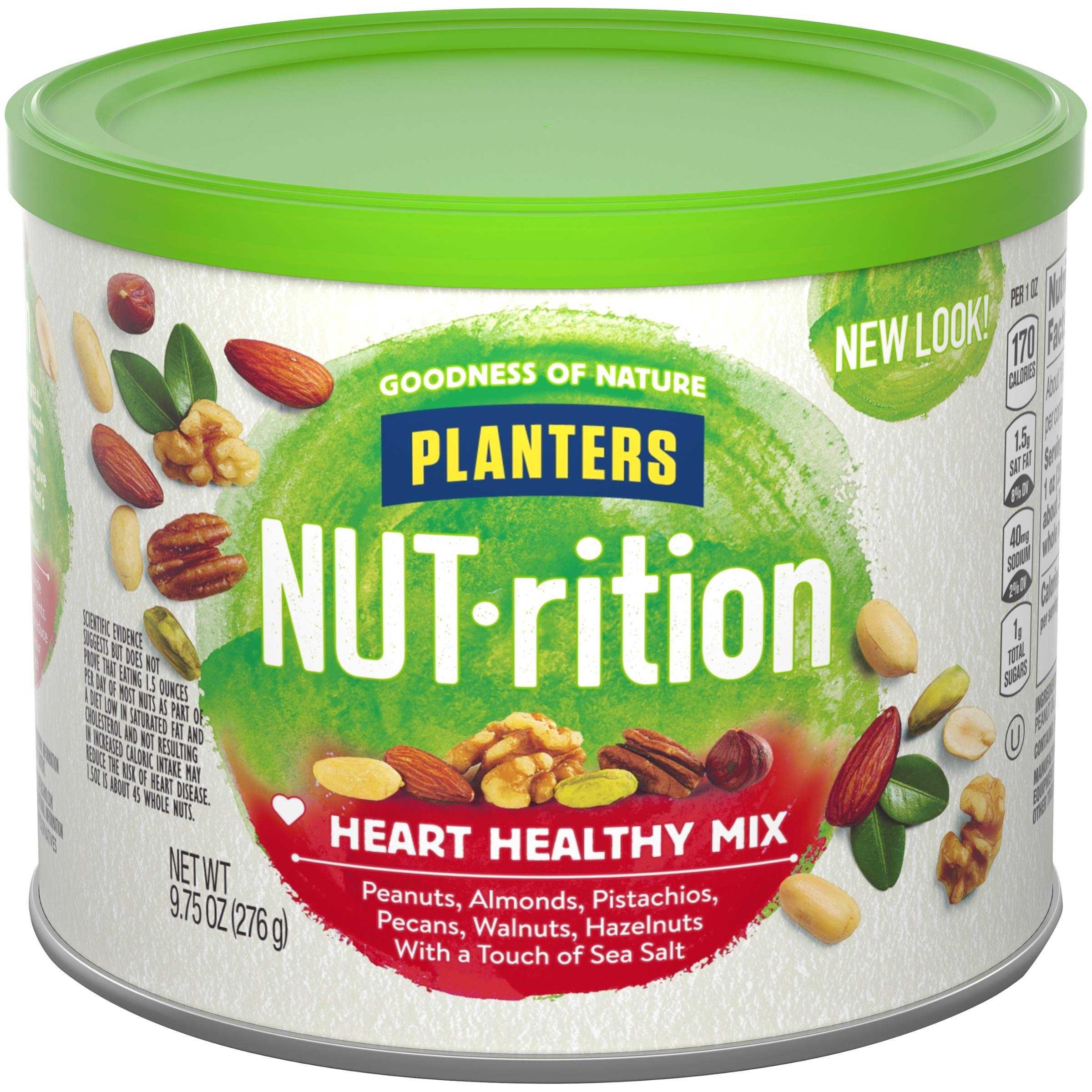 Planters NUT-rition Heart Healthy Snack Nuts Mix, 9.75 oz Can (Pack of 3) by NUTrition
