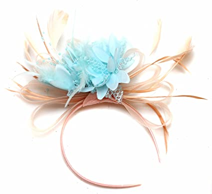 Nude Salmon and Light Blue Turquoise Feather Hair Fascinator ... 6ceb8a05415