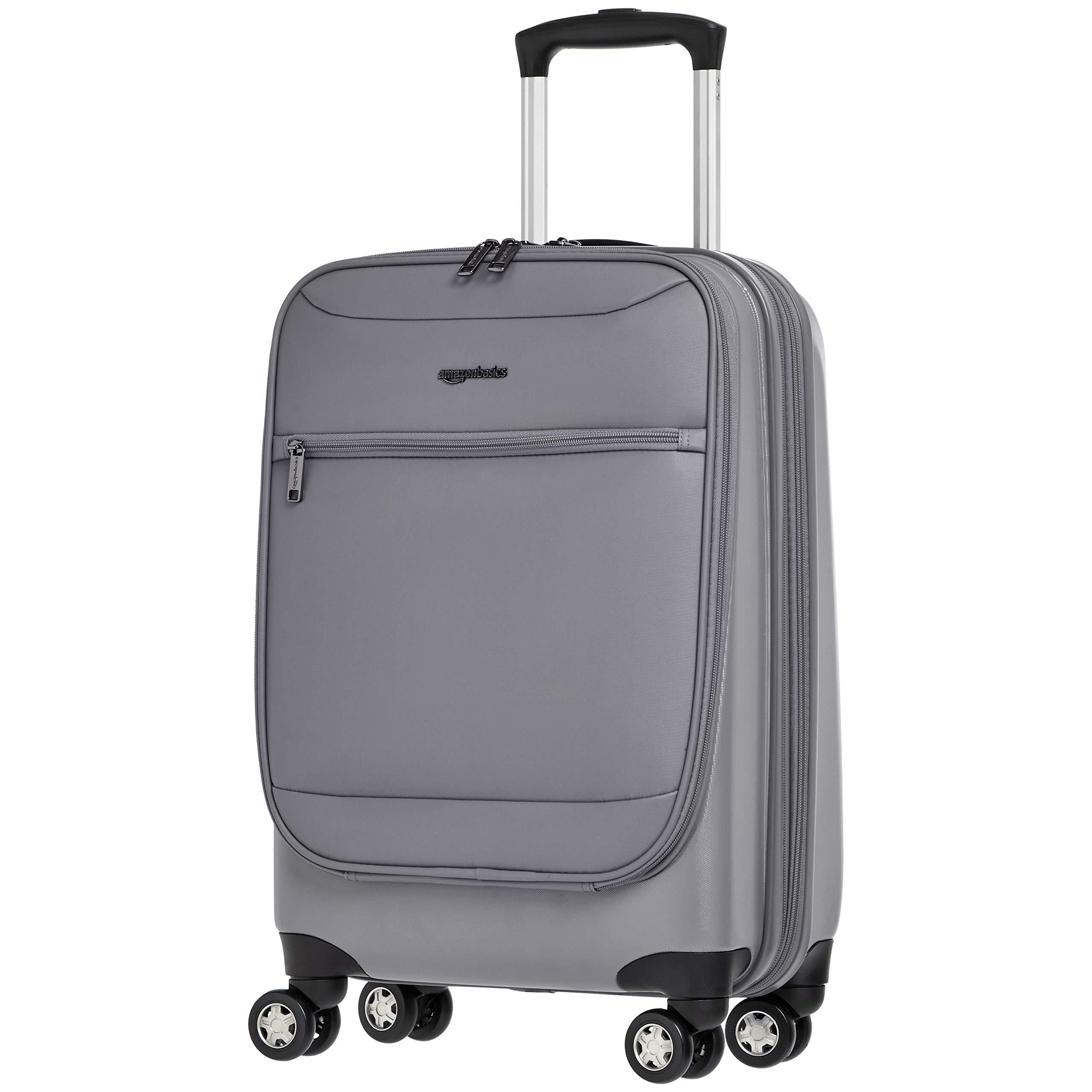 AmazonBasics Hybrid Exterior Carry-On Expandable Spinner Luggage Suitcase - 20 Inch, Grey
