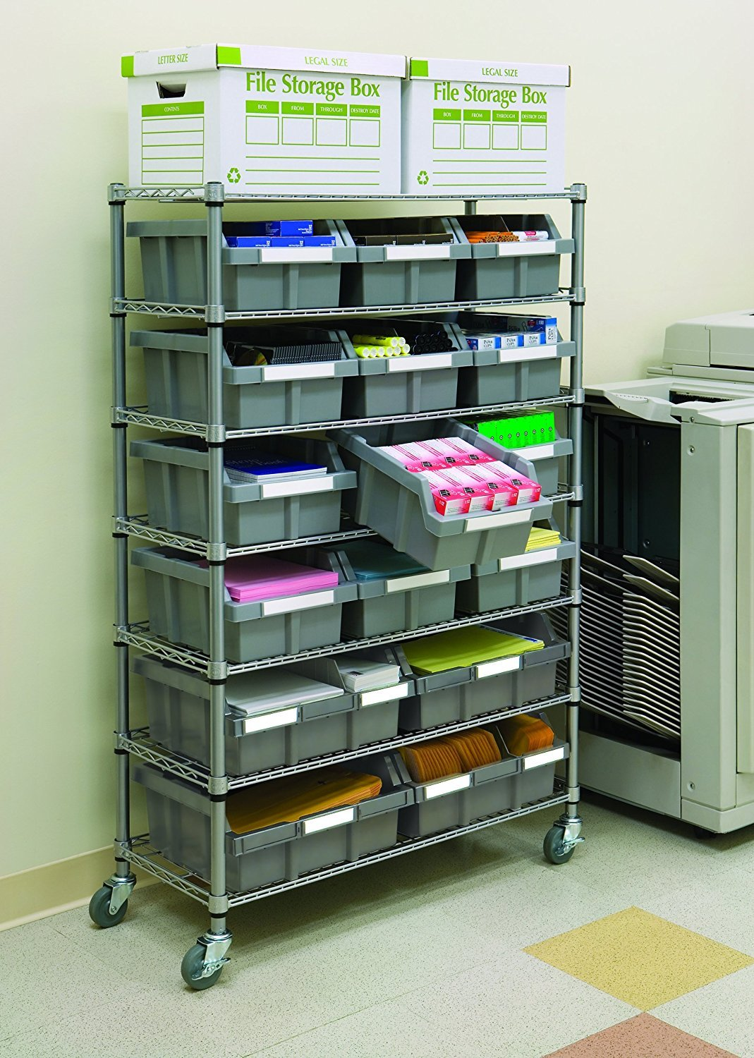 Seville Classics Commercial 7-Tier Platinum/Gray NSF 16-Bin Rack Storage System by Seville Classics (Image #3)