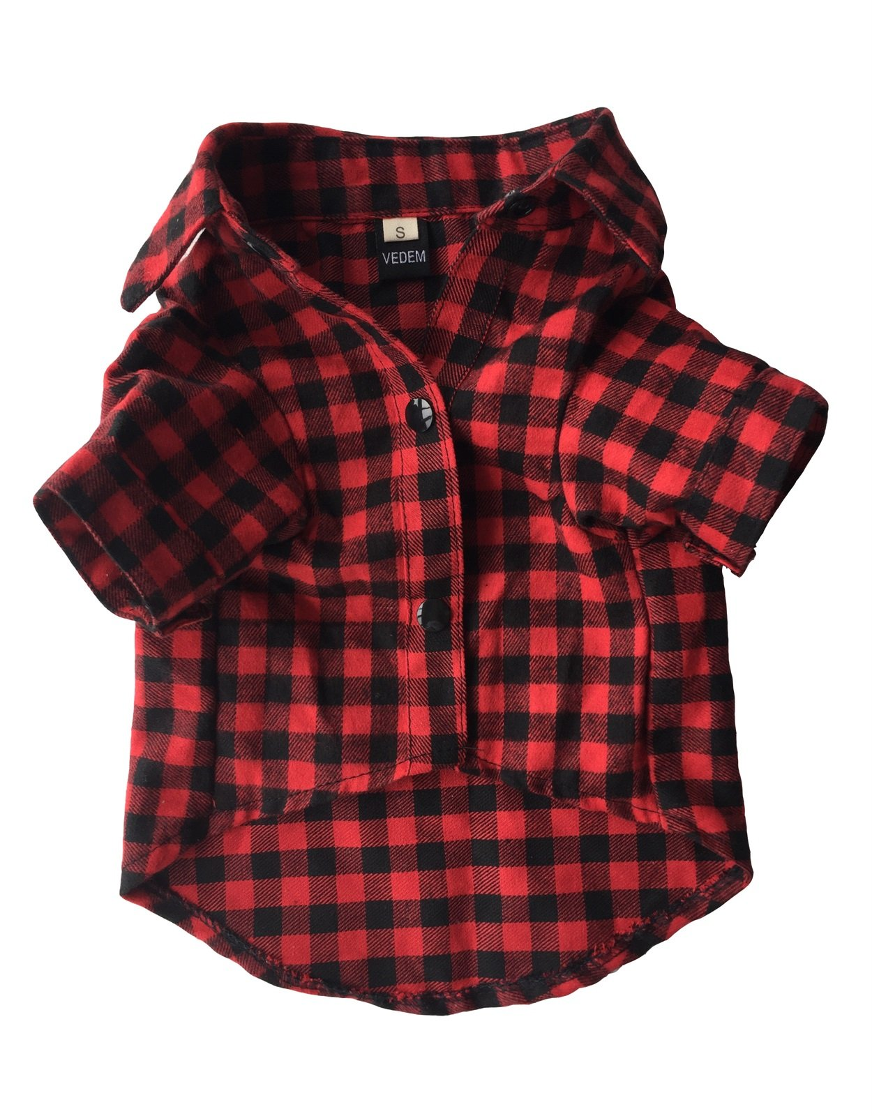 Vedem Casual Dog Plaid Shirt Cotton Pet Western Short Sleeve Shirts Wedding Clothes (S, Red Black)
