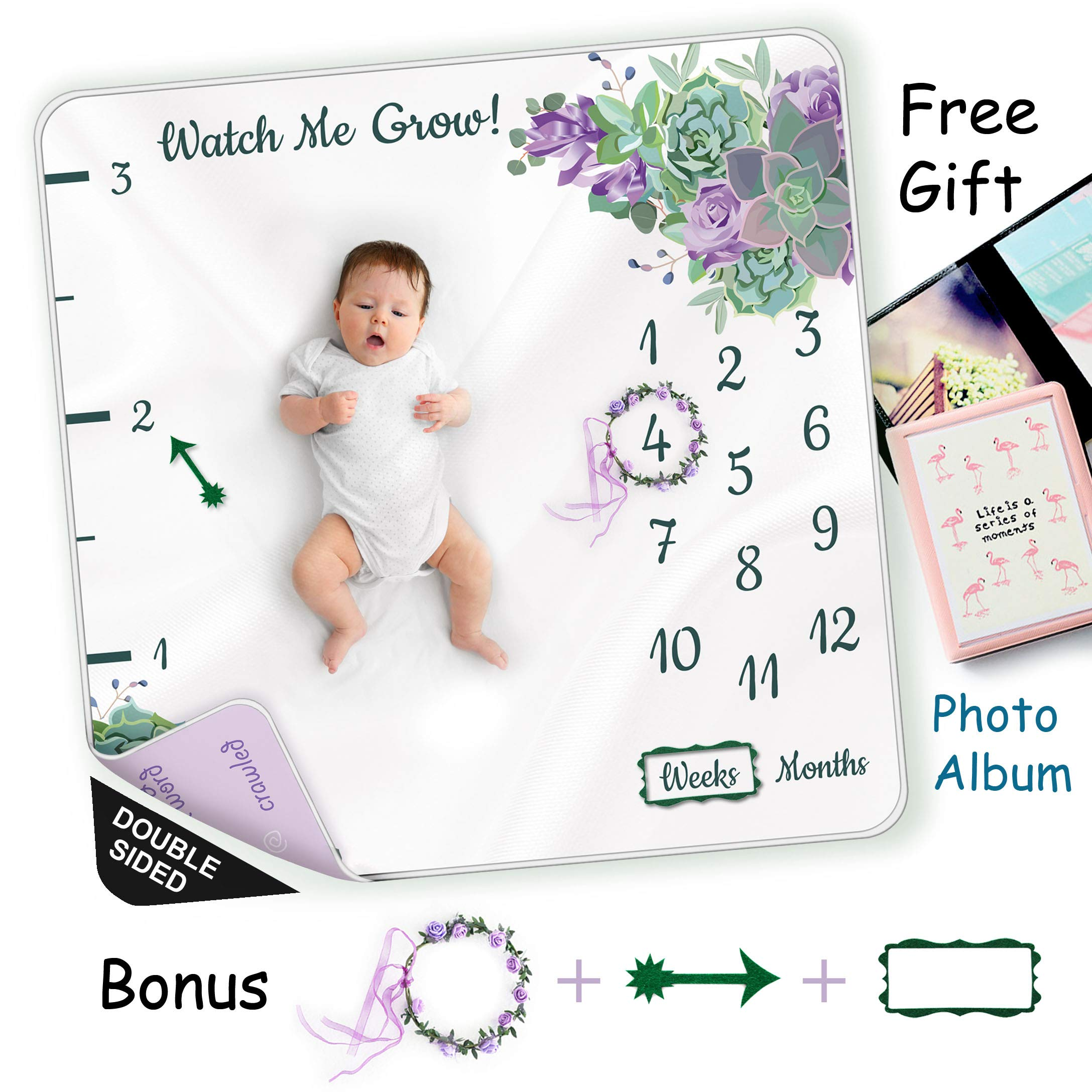 Double Sided Milestone Blanket for Baby Girl or boy to Mark Height, Months, Weeks and Special Moments|Perfect Baby Shower Gift|Monthly, Weekly and milestones Marker|Wrinkle-Free|300GSM Fluffy Fleece by Arugumbaby