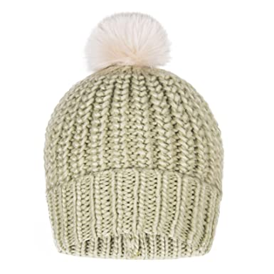 d1446aa63e71d PULI Women Girls Winter Beanie Hat Wool Knitted With Large Pom Pom Cap Ski  Snowboard Hats Green  Amazon.co.uk  Clothing