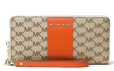 dbc627e246527d Image Unavailable. Image not available for. Color: MICHAEL Michael Kors  Signature Center Stripe Jet Set Travel Continental Wallet