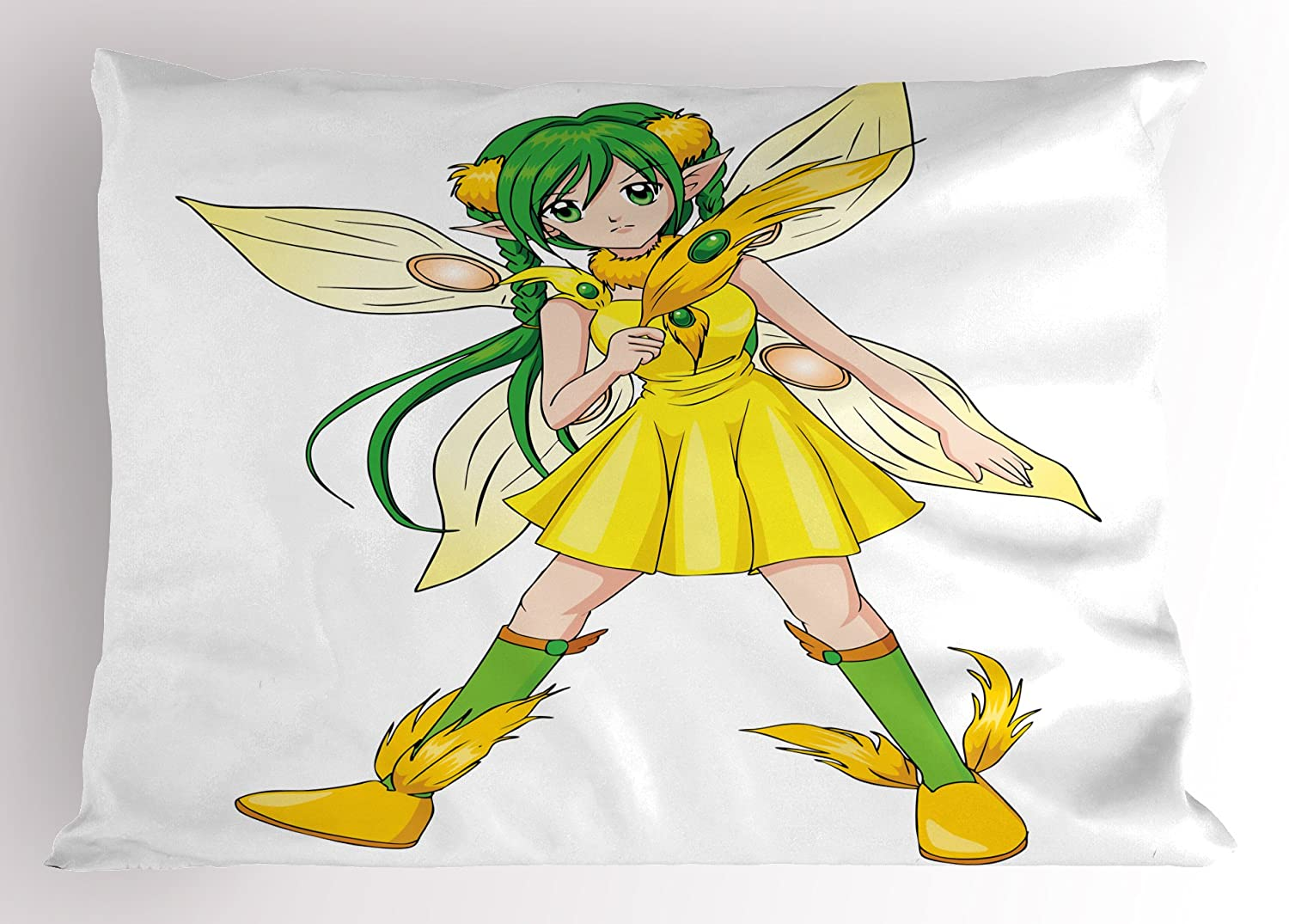 Ambesonne anime pillow sham fantasy illustration of a fairy girl in a yellow dress japanese manga decorative standard king size printed pillowcase