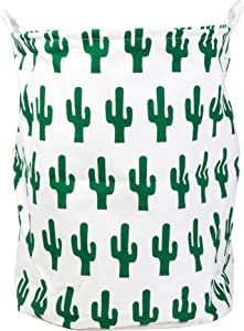 Xena Fun Cactus Large Storage Bins 19.7 Inch Waterproof Foldable Canvas Fabric Bin Collapsible Round Clothes Laundry Hamper Basket Toy Books Holder