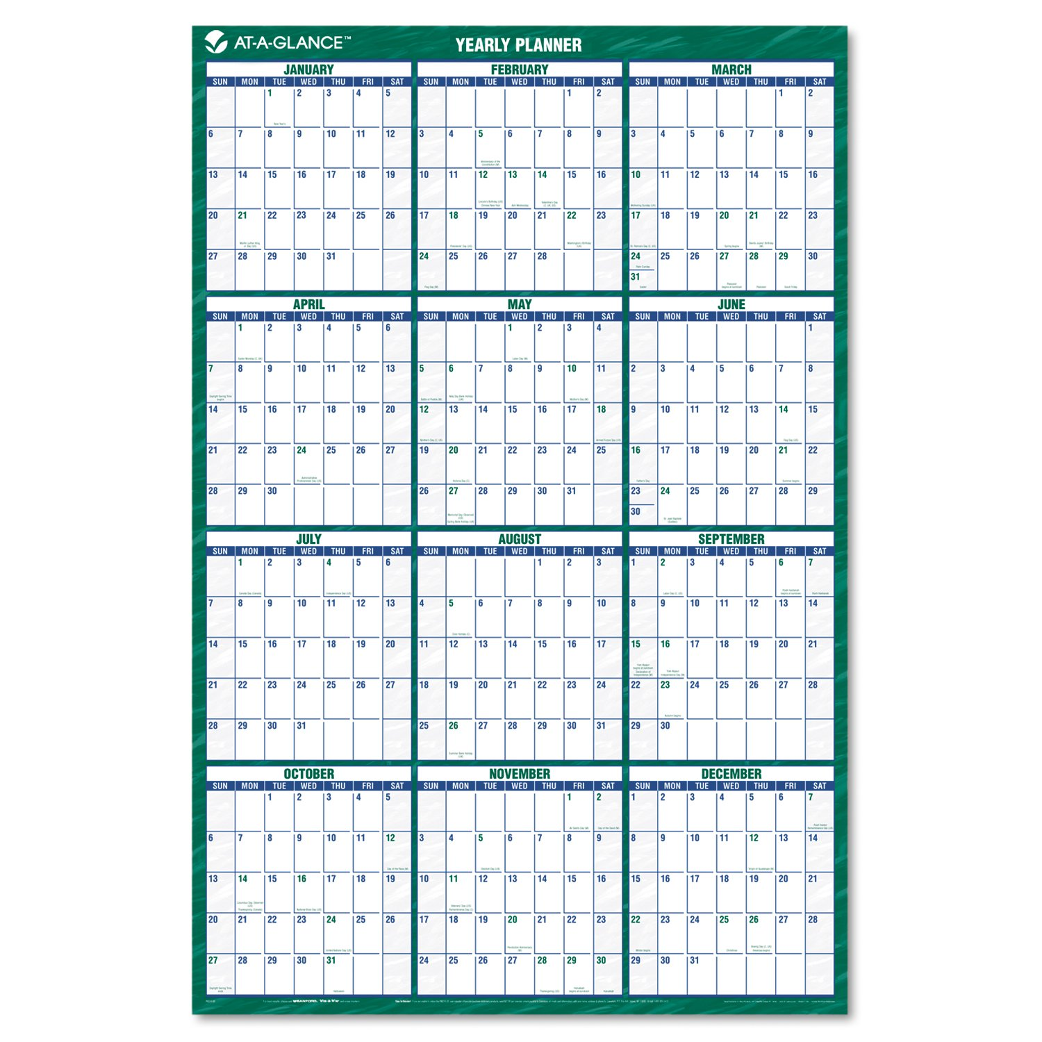 AAGPM21028 - At-a-Glance Recycled Vertical Erasable Wall Planner by AT-A-GLANCE