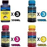 【Kit Special】 Kit de tintas superink Universal (Dye) para impresoras de inyección de Tinta 300ml Negro + 3x150ml (Cian + Magenta + Amarillo) + 4 Set de Accesorios (Guantes, jeringas, Agujas)