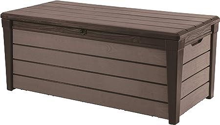 Keter - Arcón exterior Brushwood WLF, Capacidad 454 litros, Color marrón: Amazon.es: Jardín