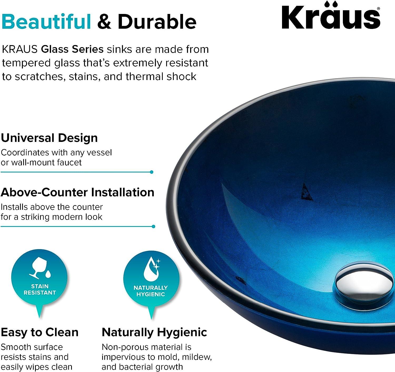 Kraus Gv 204 Irruption Blue Glass Vessel Bathroom Sink Tools Home Improvement Kitchen Bath Fixtures Fcteutonia05 De