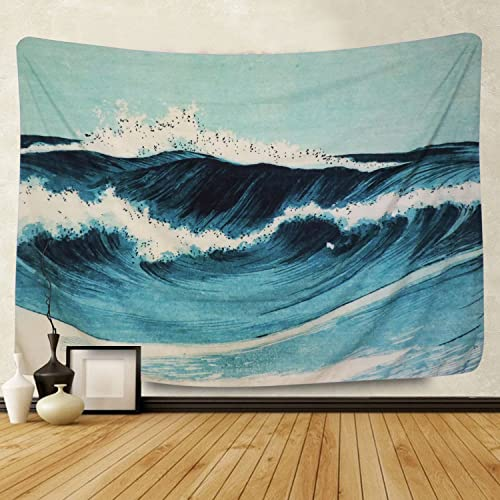 Martine Mall Tapestry Wall Tapestry Wall Hanging Tapestries The Great Wave Off Kanagawa by Katsushika Hokusai Thirty-six Views of Mount Fuji Tapestry Wall Art Blue Ocean Waves, 70.9 x 92.5