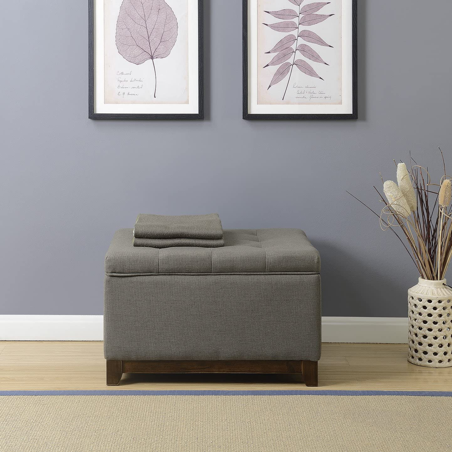 BELLEZE Storage Ottoman Linen Bench Large Living Room Footrest Seat Tufted Footstool Charcoal Gray