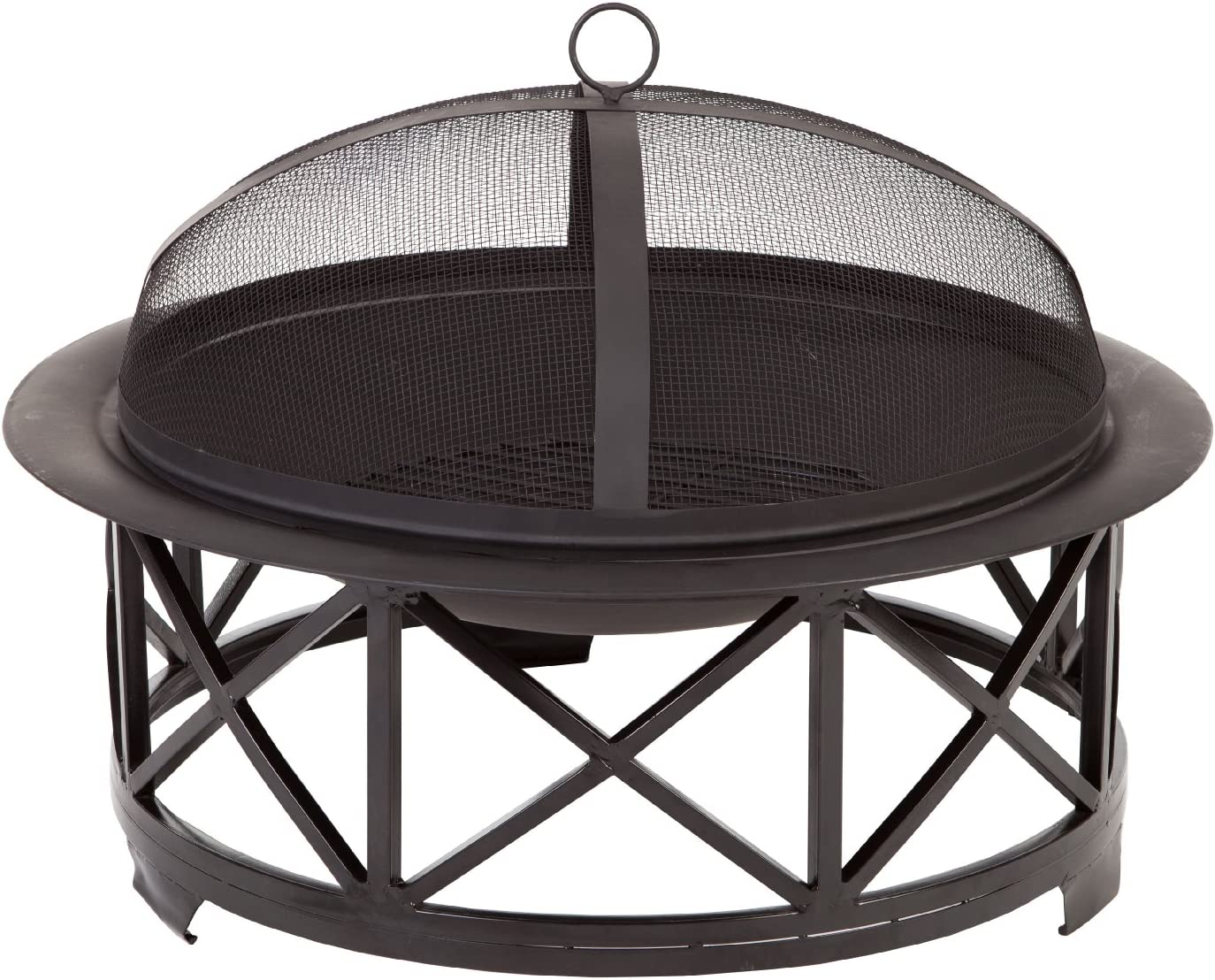 Fire Sense Portsmouth Round Black Steel 30 Inch Fire Pit with Base | Wood Burning | Spark Screen, Wood Grate, Screen Lift Tool, and Vinyl Weather Cover Included | Lightweight Portable Patio
