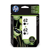 HP 62 Black Original Ink Cartridges, 2 pack (T0A52AN , Package May Vary