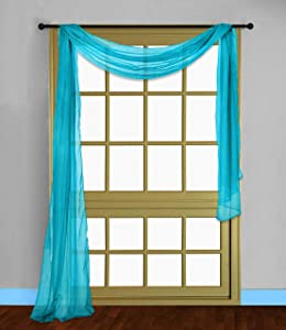 Gorgeous Home LINEN ( Turquoise 1PC Voile Sheer Curtain Panel Rod Pocket Drape/Scarf Swag Valance Window Treatment in Different (1 Scarf 37