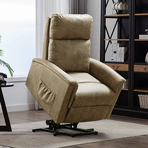 PUG258Y Power Lift Chair Electric Recliner for Elderly, Synthetic Leather Sofa Motorized Living Room Chair, 3 Positions with Side Pocket and Remote Control, Luxurious, Buff