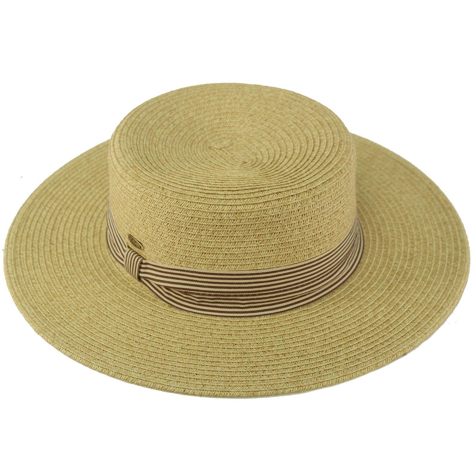 C.C Unisex Grosgrain Band Wide Porkpie Boater Derby Flat Top Fedora Sun Hat Lt. Natural/Brown Stripe