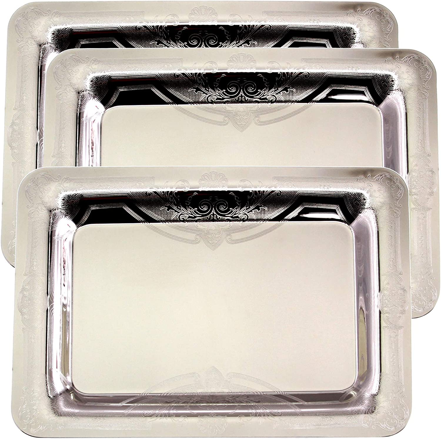 Maro Megastore (Pack of 3) 13.1 Inch x 9.1 Inch Oblong Chrome Plated Mirror Serving Tray Stylish Design Floral Engraved Edge Decorative Party Birthday Wedding Dessert Buffet Wine Platter Plate CC-748