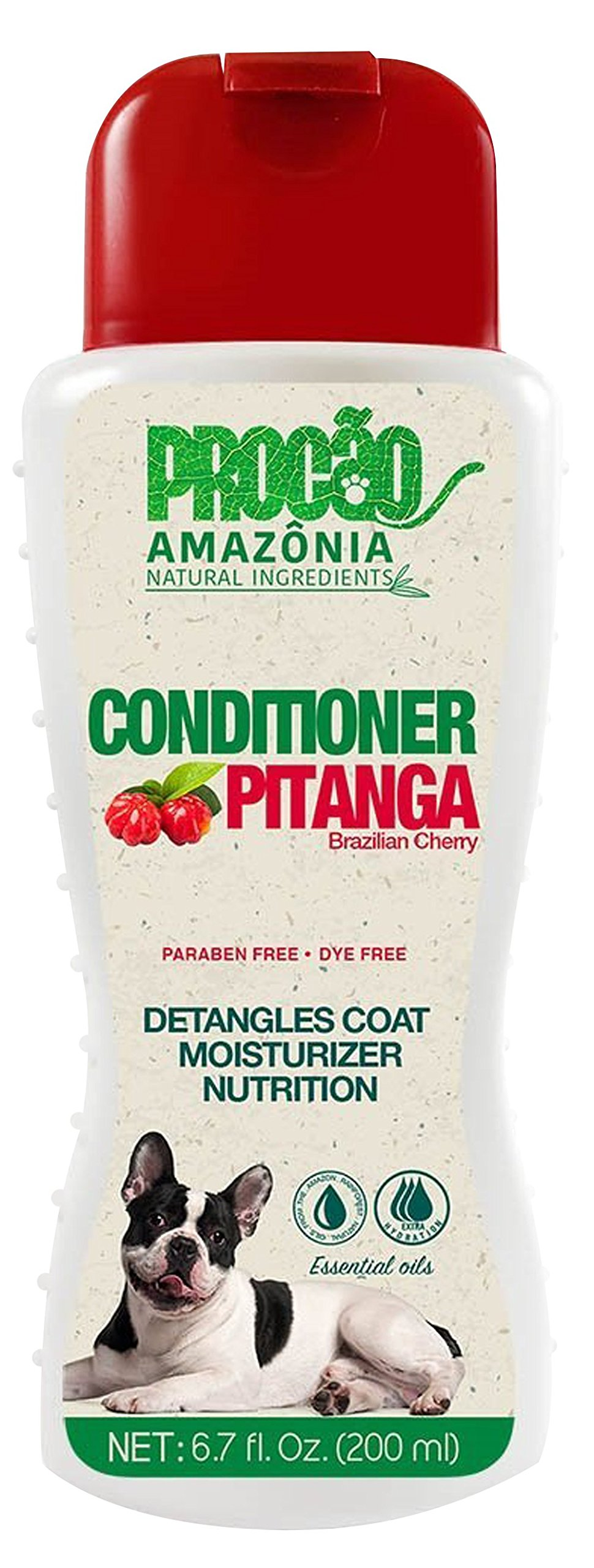 PROCÃO Pet Conditioner Pitanga Conditioner (6.7 oz) - Natural Stimulants and Well Water - Detangles Coat - All Natural - Antioxidants- Sustainably Sourced from Amazon Rainforest- No Parabens/Dyes