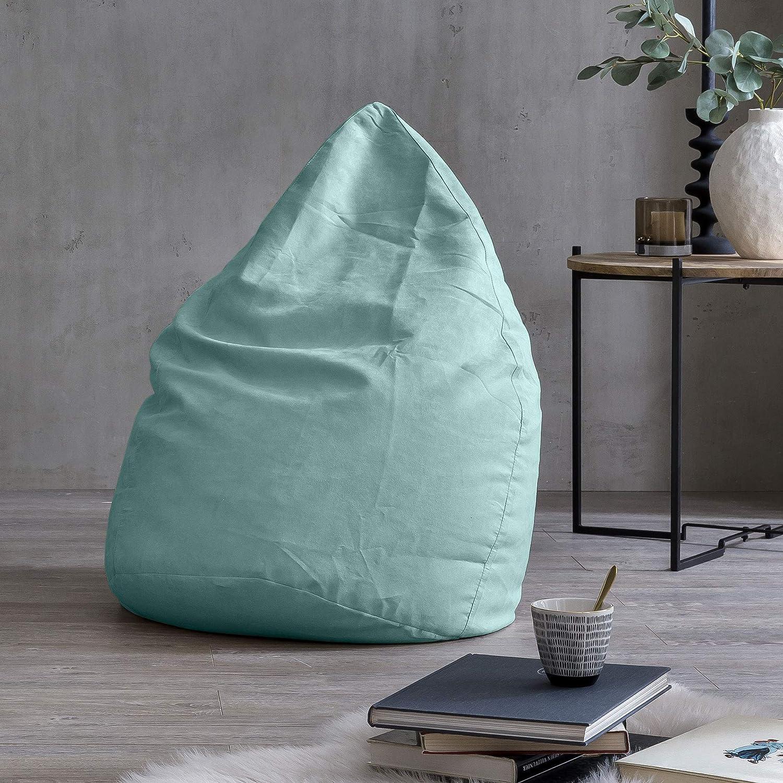 Lumaland Beanbag PUF otomano sillón Niño Puff XL Comfortline 120 lt Costuras reforzadas Turquesa