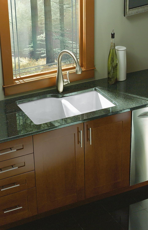 KOHLER K-5931-4U-0 Executive Chef Undercounter Kitchen Sink, White ...