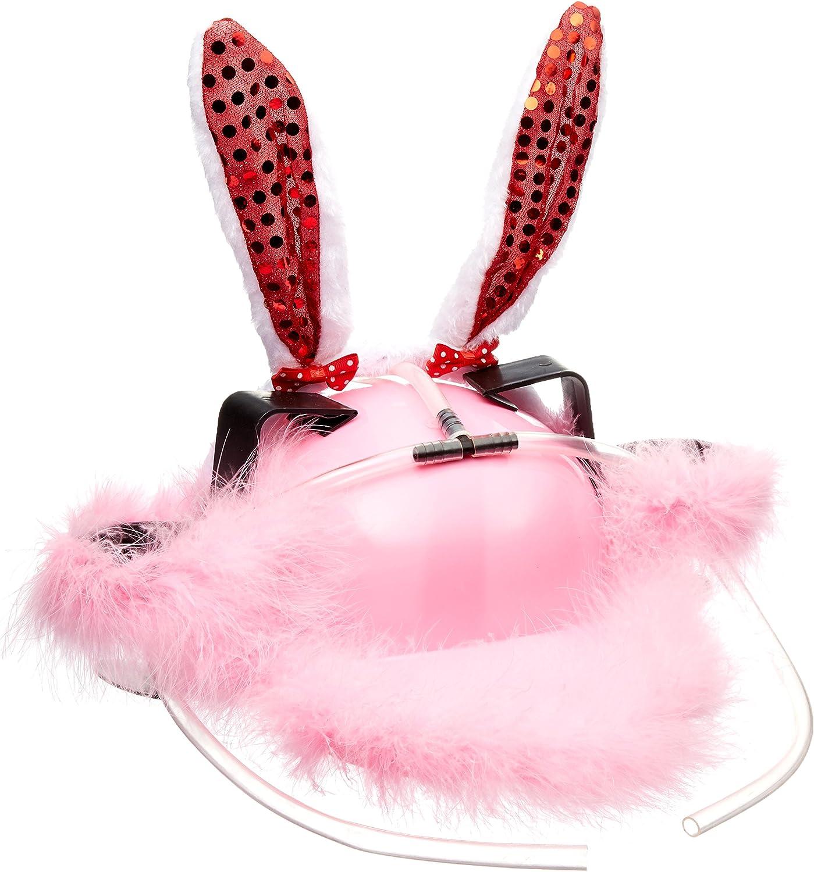 Fairly Odd Novelties Beer Soda Guzzler Helmet Drinking Hat Pink Bunny Rabbit Ears Party Hat