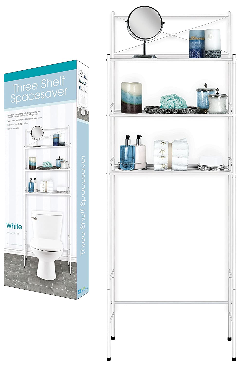 DINY Home Collections 3 Shelf Over The Toilet Spacesaver Easy to Assemble (Black) Dependable Industries inc