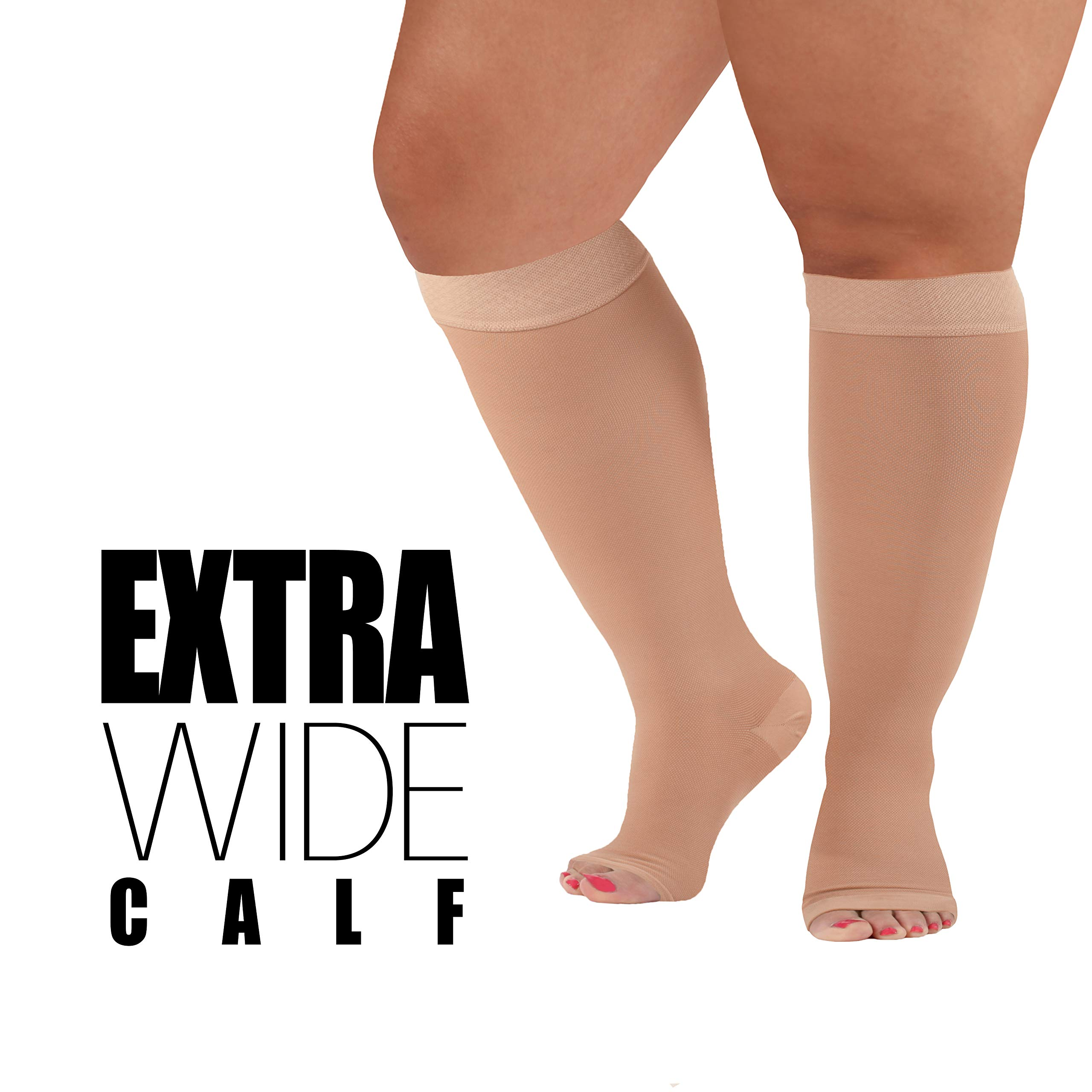 5ede65e387cd13 XXX-Large Medical Opaque Compression Socks Plus Size for Women & Men -  Extra Wide