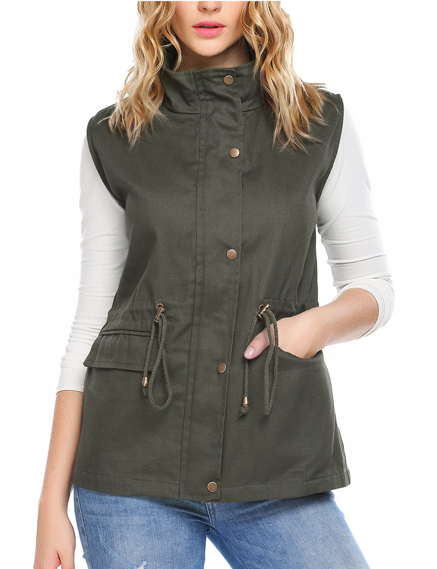 Beyove Women's Flap Pocket Sleeveless Anorak Military Style Vest, Army Green, M