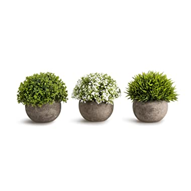 OPPS Artificial Plastic Mini Plants Unique Fake Fresh Green Grass Flower in Gray Pot for Home Décor – Set of 3