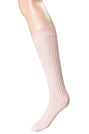 877ab2d8fe0 Valentino Spa 100% Silk Pink Knitted Women s Socks Sz M L at Amazon ...